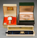 Jewelry:Watches (Timepieces), Three Hamilton Wrist Watches Including 14K Gold Packard-Presented Example. 8-5/8 inches long (21.9 cm) (leather band example... (Total: 3 Items)