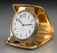 A William B. Kerr & Co. 14K Gold Repeating Desk Clock, Newark, New Jersey, circa 1915 Marks to case: 14K