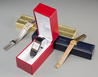 A 14K White Gold Bulova, 14K Gold Movado, and Concord Wrist Watch Marks: (various) 7 inches long (17.8 cm) (Mov