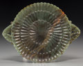 Asian:Chinese, A Chinese Carved Spinach Jade Floriform Plate. 7 inches high x8-7/8 inches wide (17.8 x 22.5 cm). ...