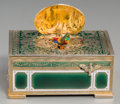 Decorative Arts, Continental:Other , A Silvered and Enameled Singing Bird Automaton Box. 2 h x 4 w x2-3/4 d inches (5.1 x 10.2 x 7.0 cm) (closed). ...
