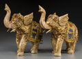 Asian:Chinese, A Pair of Gilt Metal, Enamel, and Cabochon-Mounted ElephantFigures, 21st century. 12-3/4 h x 11-1/2 w x 5 d inches (32.4 x ...(Total: 2 Items)