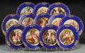 Ceramics & Porcelain, Continental:Other , Twelve Royal Vienna-Style Porcelain Cabinet Plates, 20th century.Marks: (overglaze beehive mark), MADE IN AUSTRIA; Fo...(Total: 12 Items)