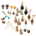 Estate Jewelry:Earrings, Diamond, Multi-Stone, Enamel, Gold, Silver, Yellow Metal Earrings .... (Total: 15 Items)