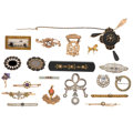 Estate Jewelry:Brooches - Pins, Diamond, Multi-Stone, Seed Pearl, Enamel, Gold, Silver, YellowMetal Brooches . ... (Total: 20 Items)