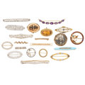 Estate Jewelry:Brooches - Pins, Diamond, Multi-Stone, Seed Pearl, Enamel, Platinum, Gold, Silver-Topped Gold, Metal Brooches. ... (Total: 20 Items)