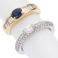 Estate Jewelry:Rings, Diamond, Sapphire, Gold Rings . ... (Total: 2 Items)