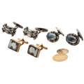 Estate Jewelry:Cufflinks, Multi-Stone, Gold, Silver Cuff Links . ... (Total: 4 Items)