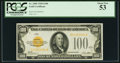 Small Size:Gold Certificates, Fr. 2405 $100 1928 Gold Certificate. PCGS About New 53.. ...