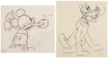 Animation Art:Production Drawing, Society Dog Show Pluto and Mickey Mouse Animation Drawing Group of 2 (Walt Disney, 1939). ... (Total: 2 )