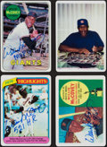 Autographs:Sports Cards, Willie McCovey Signature Series Topps Porcelain Signed Card Set (4) With Wooden Box....