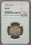 Barber Quarters: , 1909-D 25C MS63 NGC. NGC Census: (47/64). PCGS Population: (58/135). CDN: $300 Whsle. Bid for problem-free NGC/PCGS MS63. M...