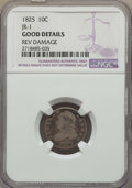 Bust Dimes, 1825 10C JR-1, R.4, -- Rev Damage -- NGC Details. Good. This lotwill also include the following: 1825 10C JR-4, R.2, ... (Total: 3coins)