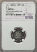 Bust Dimes, 1830 10C Medium 10C, JR-3, R.3, -- Improperly Cleaned -- NGCDetails. VF. This lot will also include the following: 1830...(Total: 3 coins)