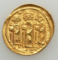 Ancients:Byzantine, Ancients: Heraclius, Heraclius Constantine, & Heraclonas (AD610-641). AV solidus (4.43 gm). About XF....