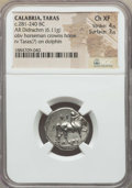 Ancients:Greek, Ancients: CALABRIA. Tarentum. Ca. 272-240 BC. AR stater or didrachm(6.11 gm). NGC Choice XF 4/5 - 3/5....