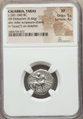 Ancients:Greek, Ancients: CALABRIA. Tarentum. Ca. 272-240 BC. AR stater or didrachm(6.44 gm). NGC XF 5/5 - 4/5....
