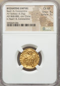 Ancients:Byzantine, Ancients: Basil I the Macedonian (AD 867-886), with Constantine (AD868-879). AV solidus (4.35 gm). NGC Choice VF 4/5 - 3/5....
