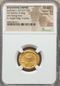Ancients:Byzantine, Ancients: Justinian I (AD 527-565). AV solidus (4.45 gm). NGCChoice AU 5/5 - 5/5....