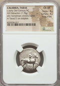 Ancients:Greek, Ancients: CALABRIA. Tarentum. Ca. 302-280 BC. AR stater or didrachm(7.78 gm). NGC Choice XF 4/5 - 4/5, Fine Style....