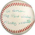 """Baseball Collectibles:Balls, 1950's Mickey Mantle """"My Best Wishes"""" Single Signed Baseball - Vintage Signature. ..."""