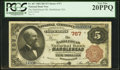 National Bank Notes:Massachusetts, Marblehead, MA - $5 1882 Brown Back Fr. 467 The Marblehead NB Ch. # 767. ...