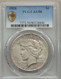 Peace Dollars, 1928 $1 AU50 PCGS Secure. PCGS Population: (244/9889). NGC Census:(139/7310). CDN: $240 Whsle. Bid for problem-free NGC/PC...
