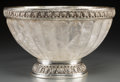 Decorative Arts, Continental:Other , A Neoclassical-Style Silvered Metal-Mounted Lobed Rock CrystalBowl, 21st century. 7-1/4 inches high x 12 inches wide (18.4 ...