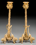 Decorative Arts, Continental:Other , A Pair of Charles X-Style Gilt Bronze Figural Candlesticks, 21stcentury. 12-5/8 inches high (32.1 cm). ... (Total: 2 Items)