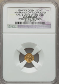 Group Lot of Three Tokens. 1909 Alaska 1/4 DWT -- Improperly Cleaned -- NGC Details. Unc. AMRQ-13, R.7, Die State 1; 190...