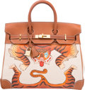 Luxury Accessories:Bags, Hermes Customized 32cm Fauve Barenia Leather & Ecru Toile H HACBirkin Bag with Gold Hardware. G Square, 2003; Artwork201...