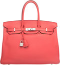 Luxury Accessories:Bags, Hermes 35cm Rose Jaipur Clemence Leather Birkin Bag with P...