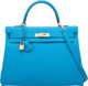 Hermes 35cm Blue Zanzibar Togo Leather Retourne Kelly with Gold Hardware A, 2017  Condition: