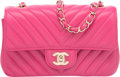 "Luxury Accessories:Bags, Chanel Pink Chevron Quilted Lambskin Leather Mini Flap Bag.Pristine Condition. 8"" Width x 5"" Height x 2"" Depth...."