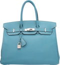"Luxury Accessories:Bags, Hermes 35cm Blue Jean Epsom Leather Birkin Bag with Palladium Hardware. K Square, 2007. Very Good Condition. 14"" Width x 1..."