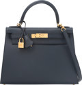 """Luxury Accessories:Bags, Hermes 28cm Indigo Epsom Leather Sellier Kelly Bag with GoldHardware. A, 2017. Excellent Condition. 11"""" Width x 8""""Height..."""