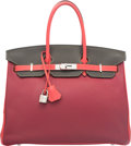 Luxury Accessories:Bags, Hermes Special Order Horseshoe 35cm Tosca, Graphite & Rose...