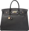 """Luxury Accessories:Bags, Hermes 40cm Black Ardennes Leather Birkin Bag with Gold Hardware.X Circle, 1994. Very Good Condition. 15.5""""Width..."""