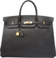 "Hermes 40cm Black Ardennes Leather Birkin Bag with Gold Hardware X Circle, 1994 Very Good Condition 15.5"" Width"