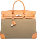 Luxury Accessories:Bags, Hermes 40cm Vache Naturelle Leather & Vert Olive Toile Off...