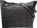 """Luxury Accessories:Bags, Chanel Black Quilted Distressed Leather Tote Bag. ExcellentCondition. 14"""" Width x 12.5"""" Height x 5.5"""" Depth. ..."""