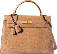 Hermes 32cm Shiny Ficelle Alligator Sellier Kelly Bag with Gold Hardware Z Circle, 1996 Very Good to Excelle