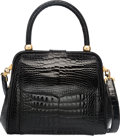 "Luxury Accessories:Bags, Lana Marks Shiny Black Crocodile Top Handle Bag. Very Good toExcellent Condition. 9"" Width x 7.5"" Height x 5"" Depth. ..."