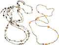 "Luxury Accessories:Accessories, Chanel Set of Two; Silver, Multicolor Glass Pearl & MulticolorGlass Bead Necklaces. Very Good Condition. 0.5"" Width x 46""...(Total: 2 Items)"