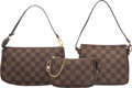 "Luxury Accessories:Bags, Louis Vuitton Set of Three; Damier Ebene Canvas Bags. ExcellentCondition. 8.5"" Width x 5"" Height x 1.5"" Depth. 6.5"" Width...(Total: 3 )"
