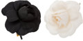 "Luxury Accessories:Accessories, Chanel Set of Two; Black & White Satin Camellia Brooches.Very Good Condition. 3"" Width x 3"" Length. 3"" Width x 3""Length... (Total: 2 Items)"