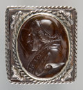 Decorative Arts, Continental:Other , A Large Seal or Poison Ring with Intaglio Bust of Pope Piu...