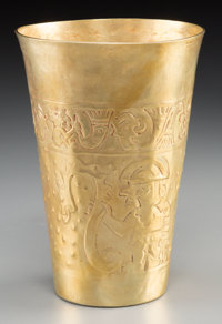 A Pre-Columbian-Style 18K Gold Figural Kero Beaker in the Manner of the Sican or Chimu Civilizations 5-3/4 inches