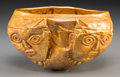 Pre-Columbian:Metal/Gold, A Pre-Columbian-Style 18K Gold Ceremonial Vessel in the Manner ofthe Civilization. 3-1/4 inches high x 5-3/4 inches wide (8...
