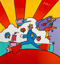 Peter Max (American, b. 1937) Woodstock Cosmic Dancer Acrylic on canvas 48 x 48 inches (121.9 x 1